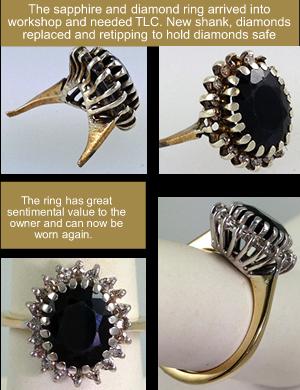 sapphire diamond ring repair