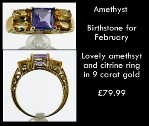 amethyst birthstone ring february