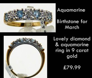 Aquamarine Diamond eternity style ring