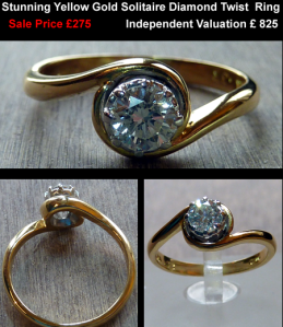 gold diamond solitaire twist ring