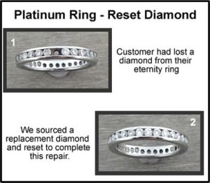 platinum eternity ring reset diamond