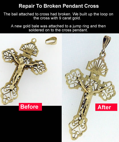 broken pendant gold cross
