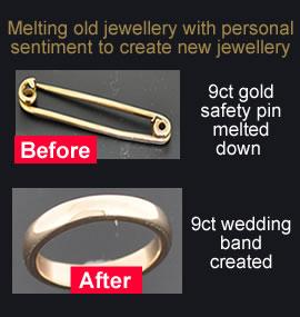 melting gold jewellery