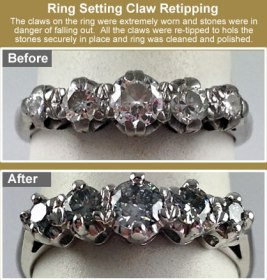 diamond ring setting retipped