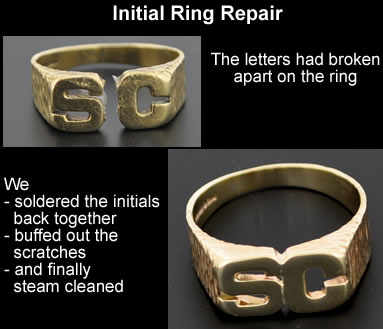 gold initial ring repair